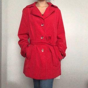 Liz Claiborne red waterproof pea coat large